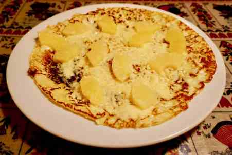 The delicious pineapple and cheese pancake at Upstairs Pannekoeken.