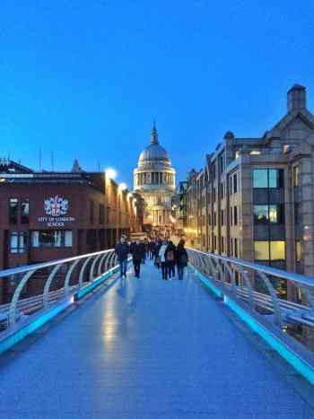 A classic view of St. Paul's Cathedral from Millenium Bridge.