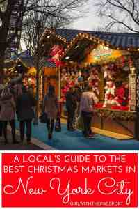 Looking for a Christmas Markets holiday break in New York City? Then check out this local's guide to 10 of the most enchanting Christmas Markets in New York City. Explore NYC with me and find out where to eat in New York City, what to do in New York City, and which Christmas Markets to visit, like the Bryant Park Winter Village, the Union Square Holiday Market, and more. #NYC #travelNYC #NYCChristmas #ChristmasMarkets #Holidaytravel