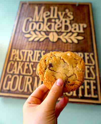 The delicious dulce de leche cookie I devoured at Melly's Cookie Bar.