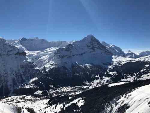 A beautiful view of winter in Grindenwald, Switzerland.
