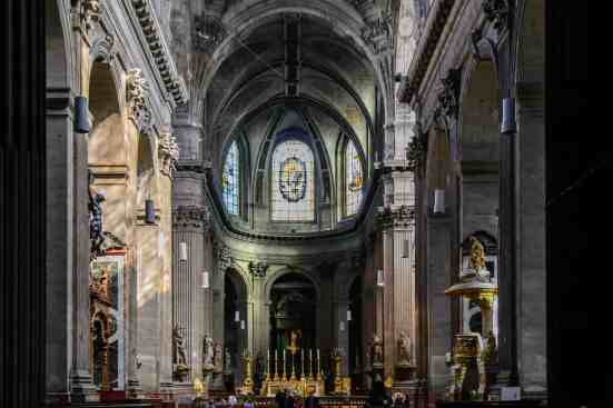 The eternal beauty and peace of Eglise Sulpice in the Latin Quarter of Paris.