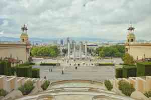 A beautiful, daytime view of Montjuic in Barcelona.