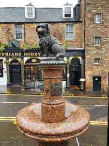 This statue stands outside of Greyfriar's Bobby and commemorates Bobby's undying loyalty to his owner.