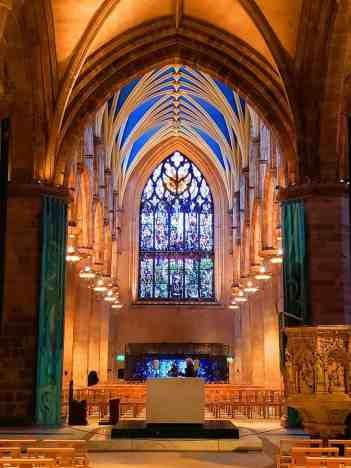 The exquisite beauty of the stained glass windows inside St. Giles Cathedral.