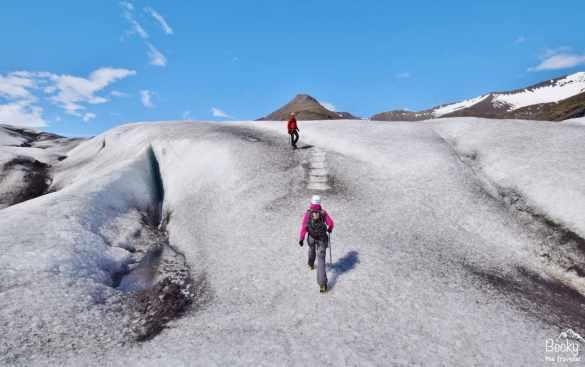 Glacier hiking Vatnajokull in Iceland.