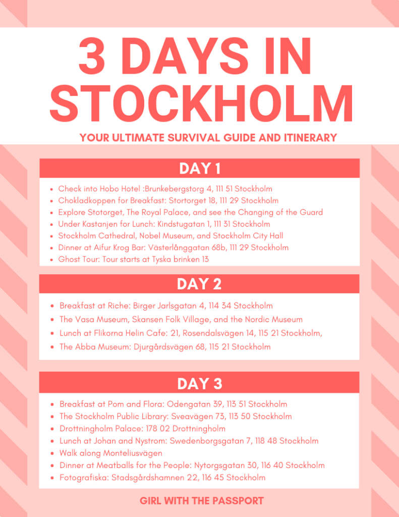 Free, printable 3 days in Stockholm itinerary