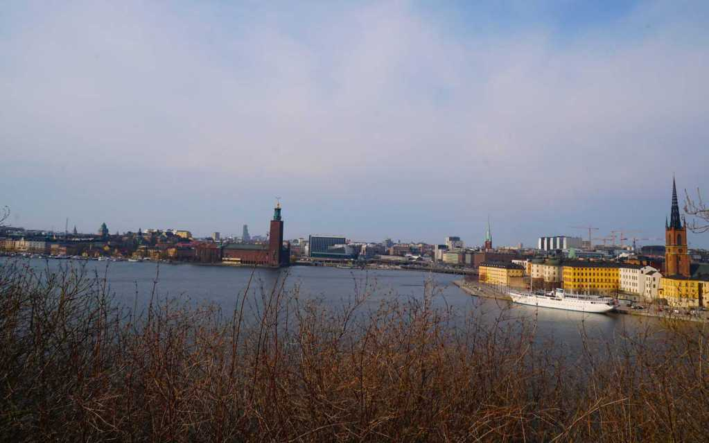The beautiful view of Gamla Stan that you get while walking along Monteliusvägen.