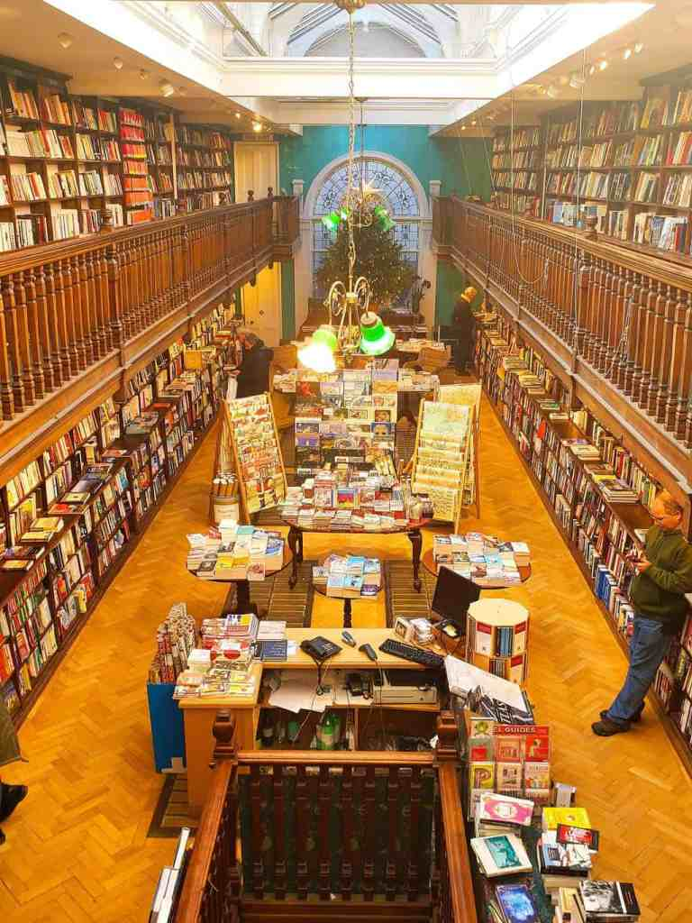 The beautiful interior of Daunt Books at 83 Marylebone High Street.