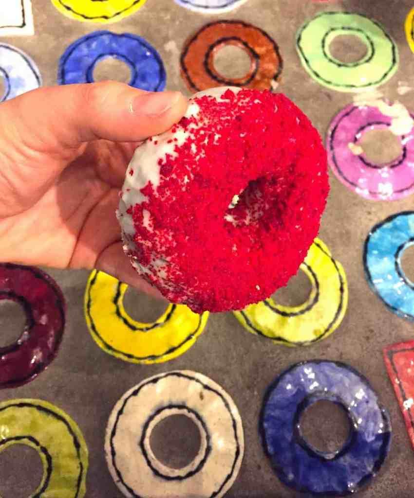A red velvet, cake doughnut from the iconic, Doughnut Plant.