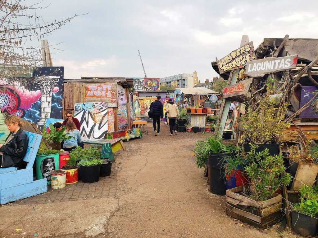 The quirky and cool, Nomadic Community Gardens is nestled in London's uber cool, Shoreditch neighborhood.