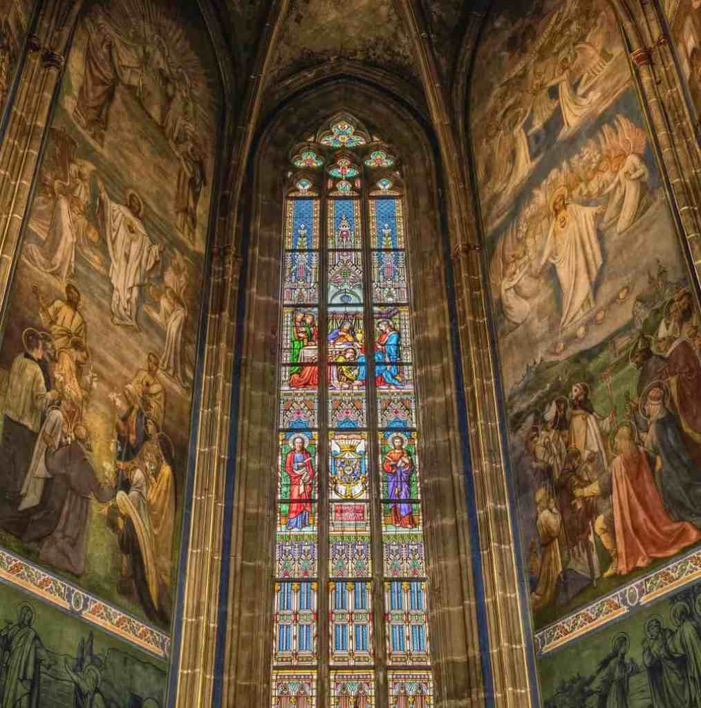 The amazing stained glass windows of St. Vitus Church, another amazing places to visit during your 3 days in Prague.