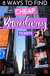 Planning to see a Broadway show while in NYC? If you are then check out this local's guide. It details 8 different ways to find cheap Broadway tickets in NYC. #BroadwayTickets #NYCGuide #BudgetNYC #VisitNYC