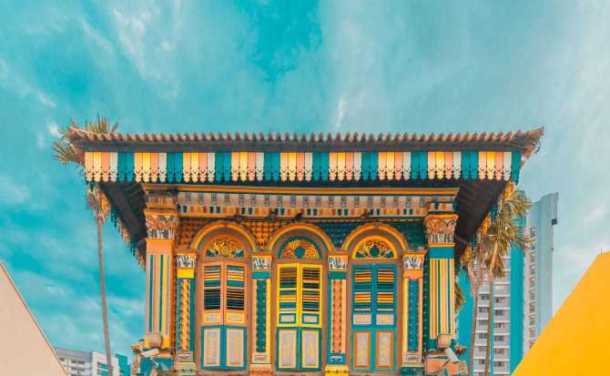 Some of the vibrant and beautiful buildings that you'll find in Singapore's Little India.
