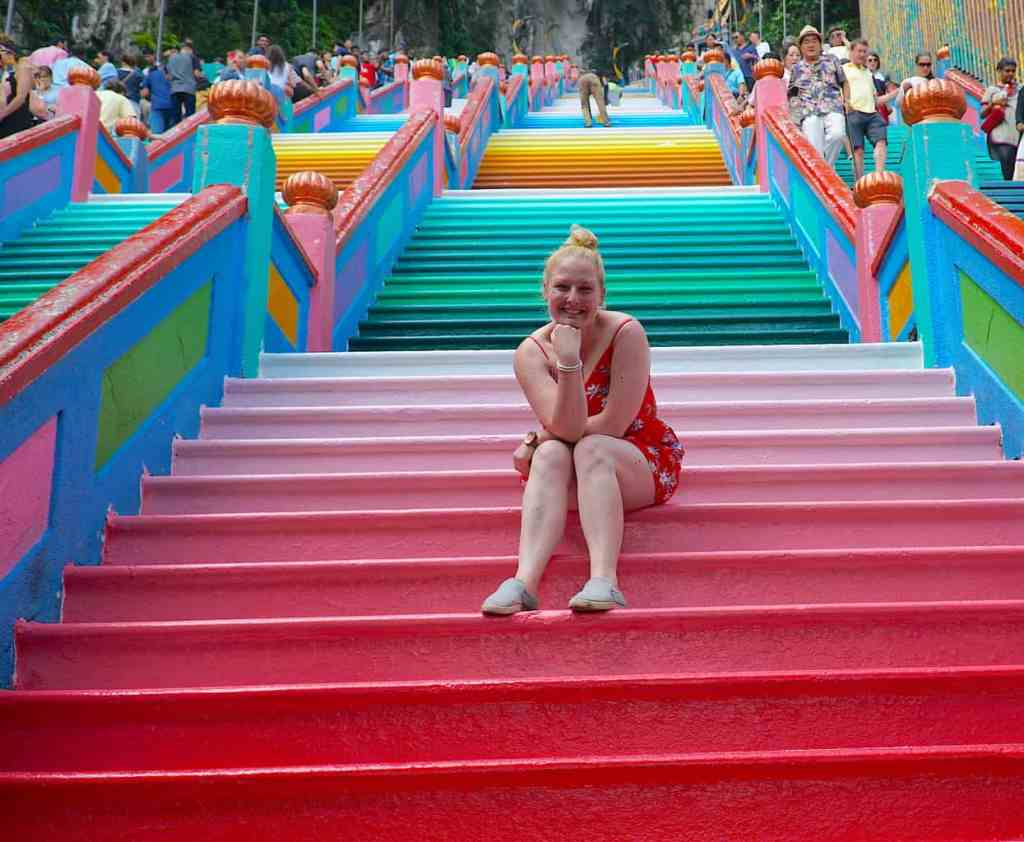 The wonderfully colorful set of 272 stairs that you'll find at the Batu Caves.