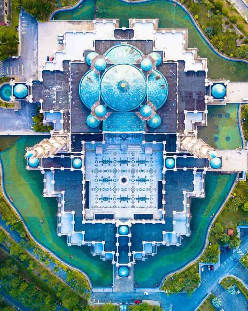 A beautiful, aerial view of the Blue Mosque in Kuala Lumpur.