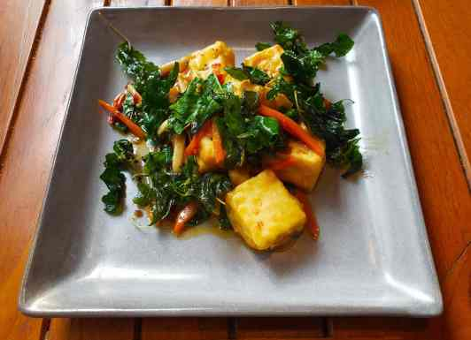 Stir fried tofu never looked so good at Brainwake Cafe in Bangkok.