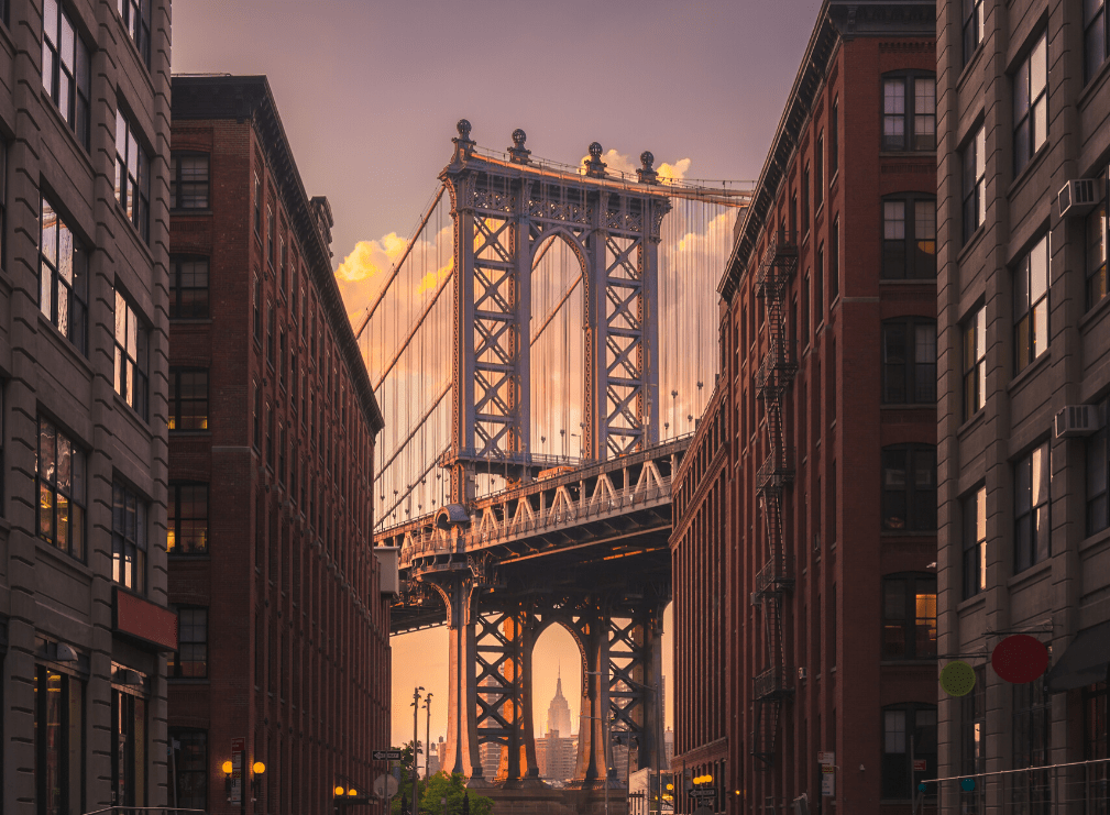 A perfect shot of the Manhattan Bridge from the corner of Washington  Street and Water Street.