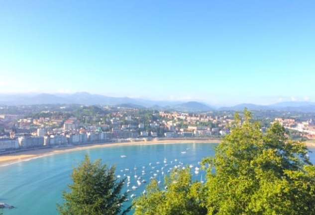 A beautiful view of the amazing beaches that you'll find when visiting San Sebastian, Spain.