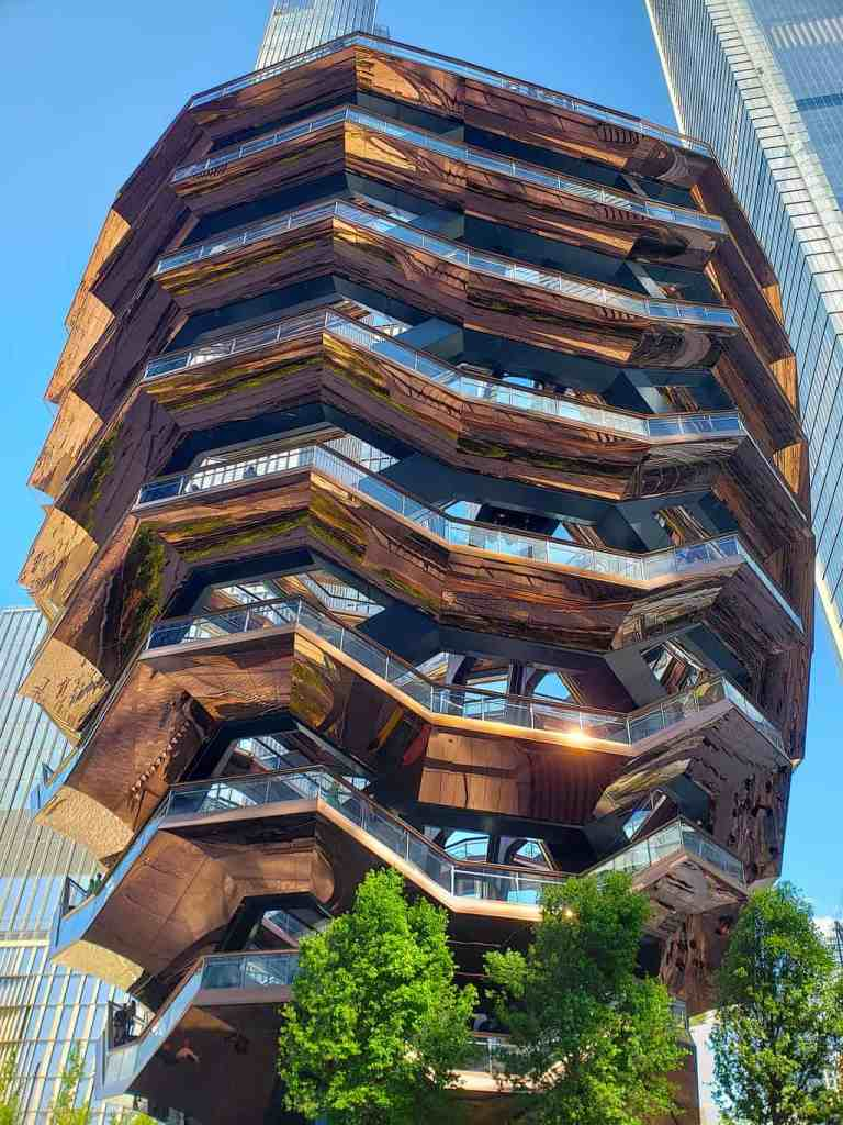 The unique design of the Vessel in NYC's Hudson Yards.