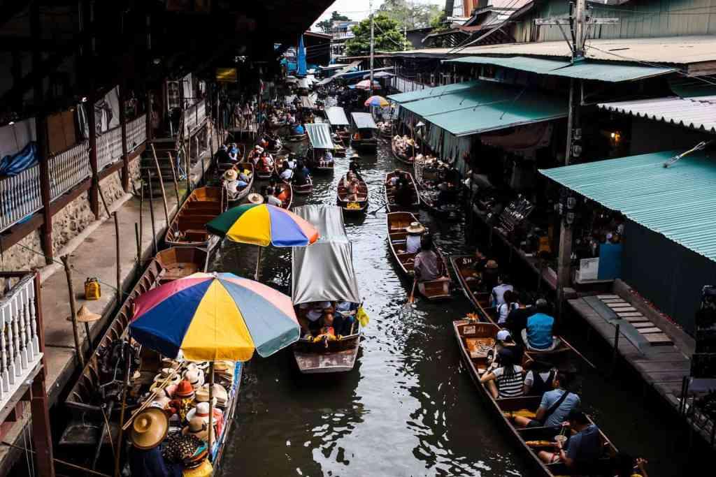 Taling Chan Floating Market in Bangkok, Thailand.