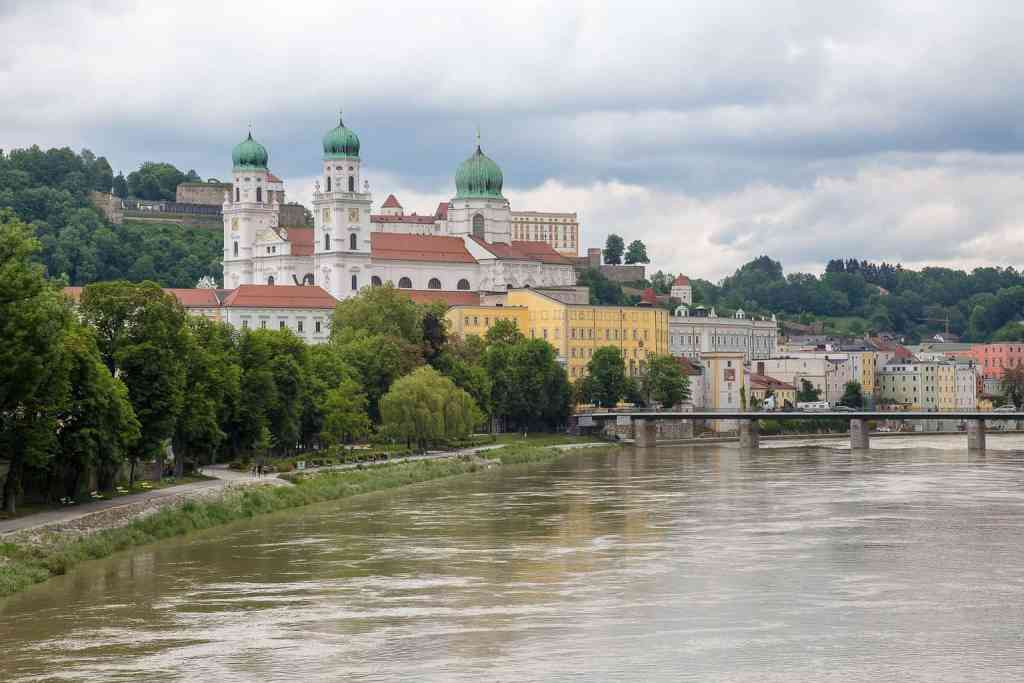 The beautiful, historic center of Passau, which sits right along Germany's famous, Danube River.