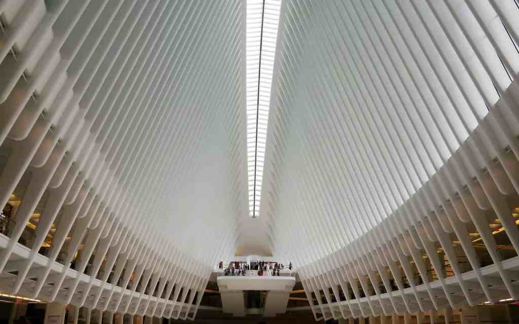 The modern, architectural beauty of The Oculus transportation hub at the World Trade Center.