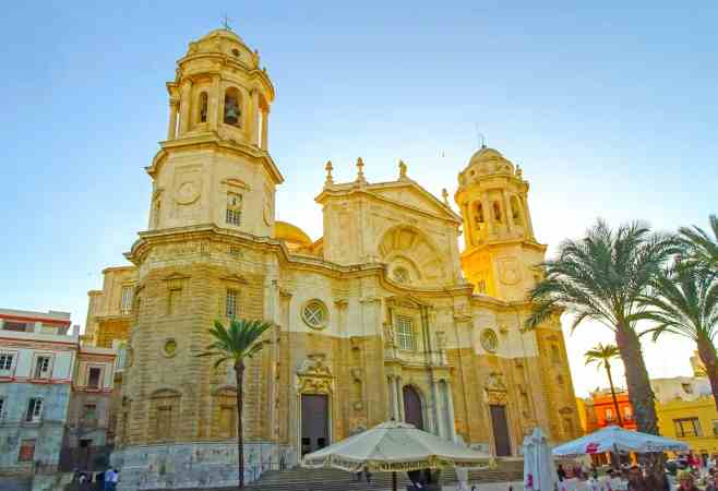The historic, Baroque-style Cathedral that you'll find in the center of Cadiz, Spain.