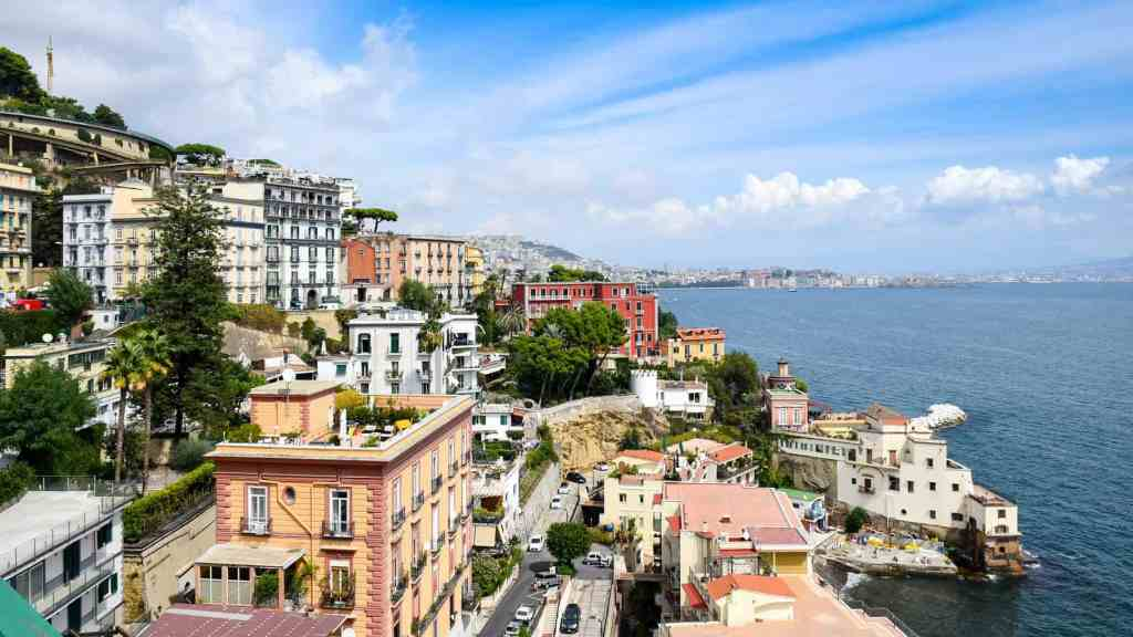 A beautiful view of the exquisite waterfront of Naples, Italy.