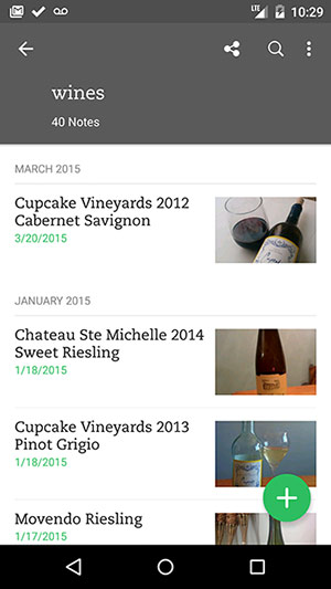Evernote App for Wine Catalog