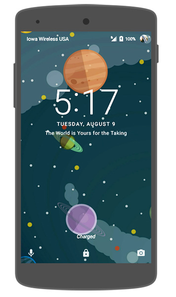 Android Lock Screen Message