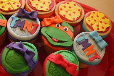 Ninja Turtle Superhero Birthday Party Cupcakes