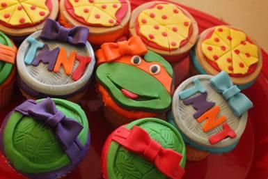 Ninja Turtle Superhero Birthday Party Cupcakes