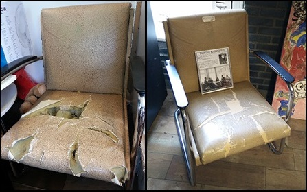 De stoel van Keuning vóór  en na de restauratie.