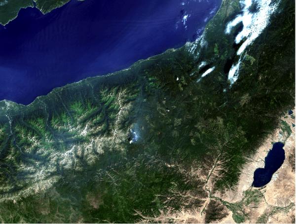 Landsat 8 subset showing Lake Baikal in Siberia, Russia
