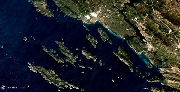 Vodice, Croatia as seen by Sentinel-2A (processed with Sentinelhub)