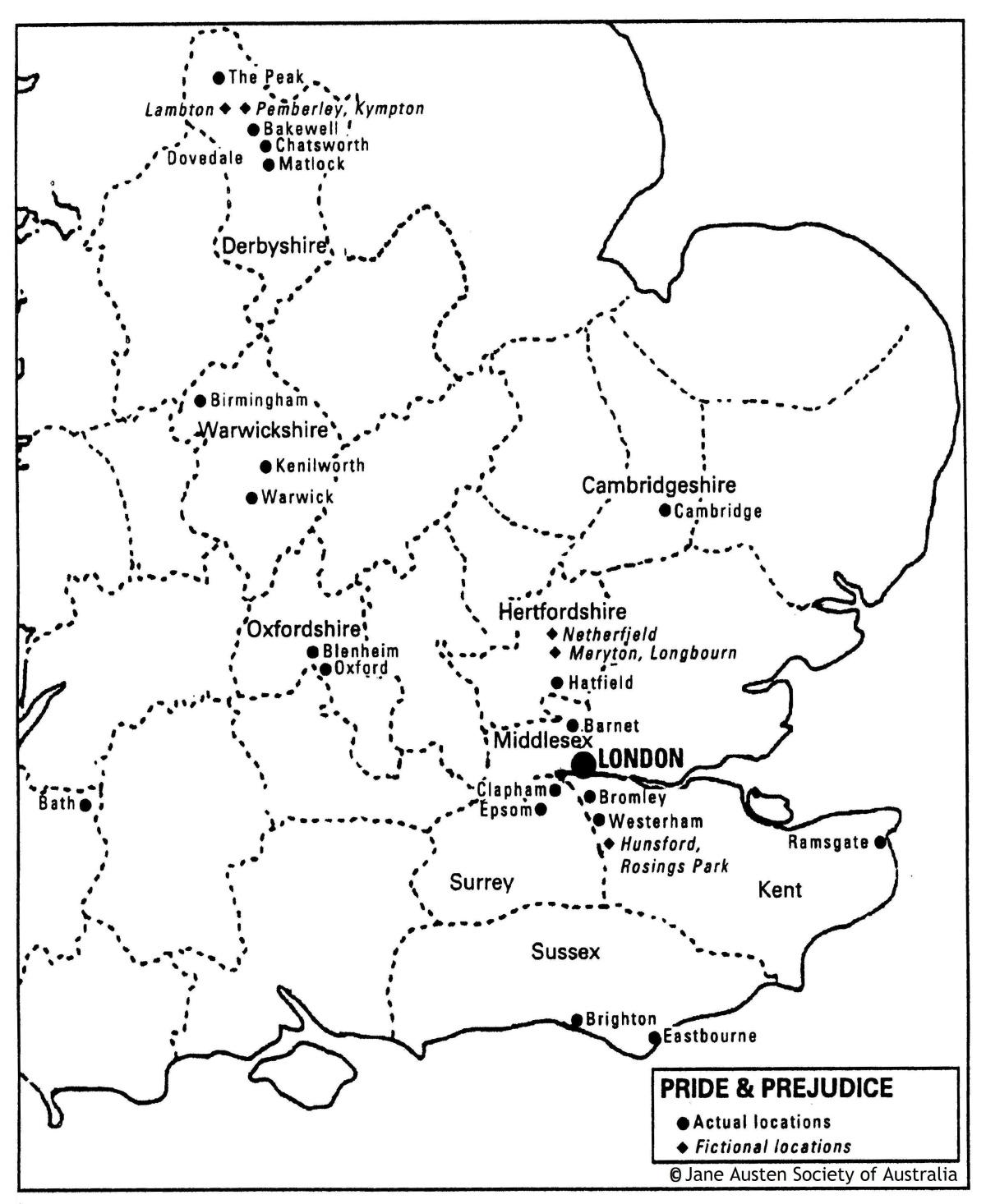 Jane Austen Maps Of The Novels