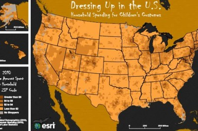 Map of Halloween Costume Spending Across the United States. Source: Esri.