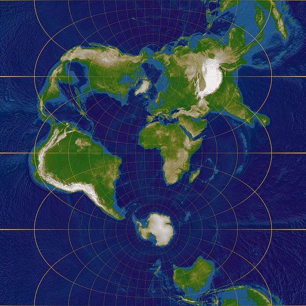 Transversal Mercator projection. Map center is at 0°E, 0°N. Left border is near 85°W, right border is near 85°E. Source: Lars H. Rohwedder.