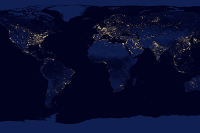 Composite Map of the Earth at Night, 2012. Source: NASA.