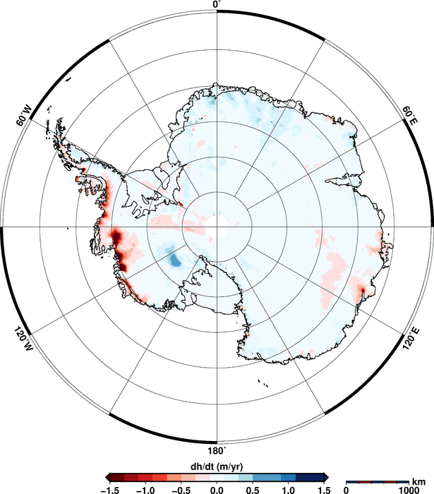Using 200 million measurements collected by ESA's CryoSat mission between January 2011 and January 2014, researchers from the Alfred Wegener Institute in Germany have discovered that the Antarctic ice sheet is shrinking in volume by 125 cubic kilometres a year. The study, which was published in a paper published on 20 August 2014 in the European Geosciences Union's Cryosphere journal, also showed that Greenland is losing about 375 cubic kilometres a year