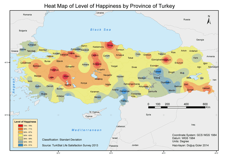 Where are the residents of Turkey the happiest?