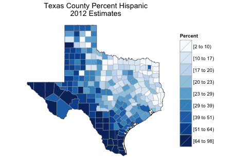 Demographic map of Texas created using R. Source: Lamstein.
