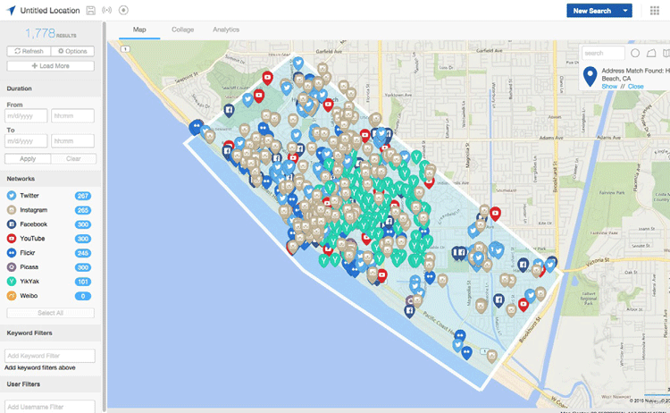 The GeoFeedia app lets the Huntington Beach Police Department monitor social media activity by location and keyword.