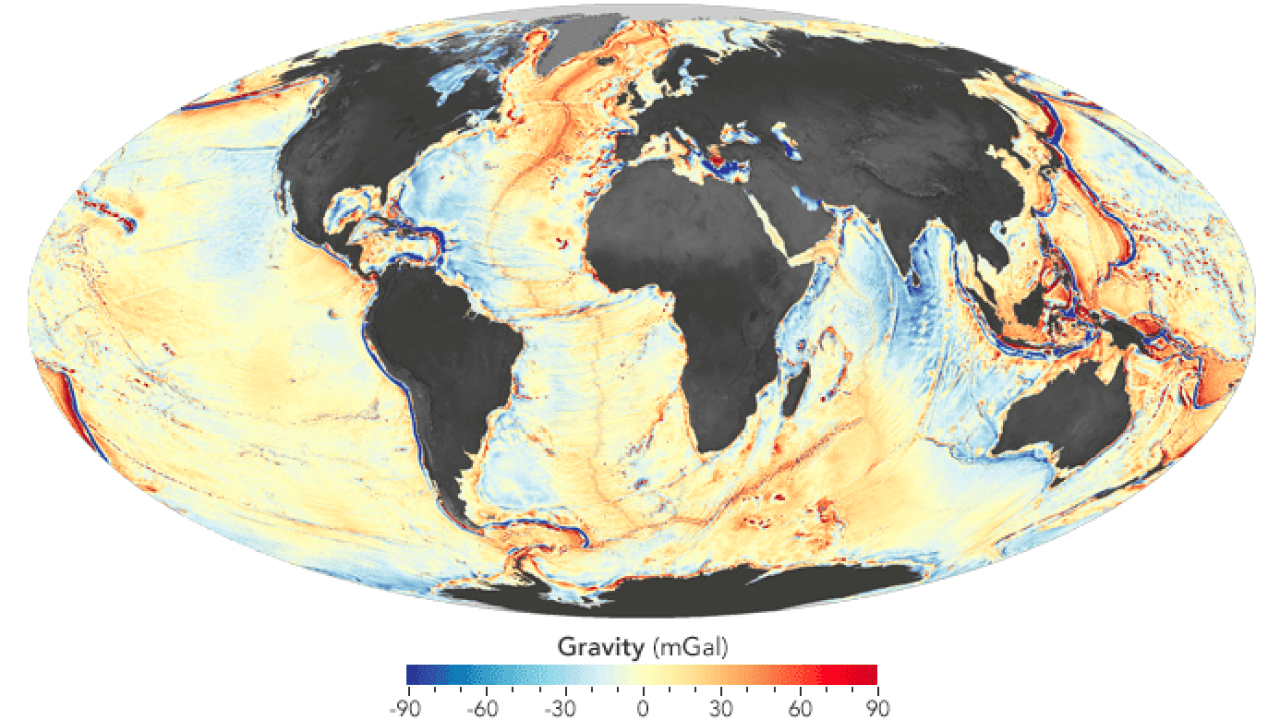 Seafloor Mapped Using Measurements Of The Earth S Gravity Field