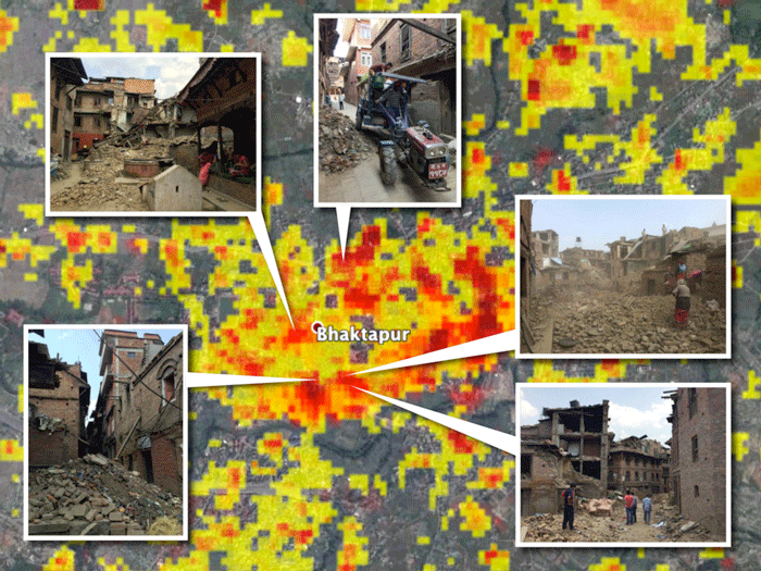 The 2015 earthquakes caused great damage in Bhakatpur, Nepal. These photos are overlaid on a damage proxy map derived from COSMO-SkyMed satellite data. Colors show increasingly significant change in terrain/building properties (including surface roughness and soil moisture). Red is most severe. Credits: NASA/JPL-Caltech/Google/DigitalGlobe/CNES/Astrium/Amy MacDonald/Thornton Tomasetti