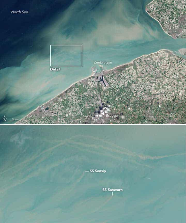 These satellite images were acquired by the Operational Land Imager (OLI) on Landsat 8 on April 1, 2014. In these natural-color views, long sediment plumes extend from the known wreck sites of the Sansip and Samvurn.  Source: NASA.