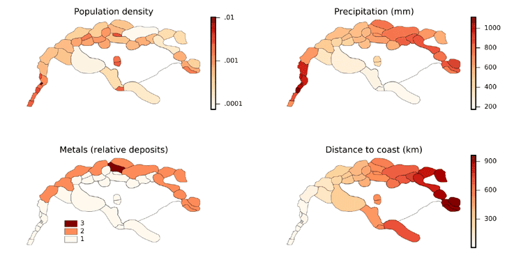 A selection of independent predictors of invasion frequency mapped on the study area of Assyria and surrounding states. From Baudains et al, 2015.