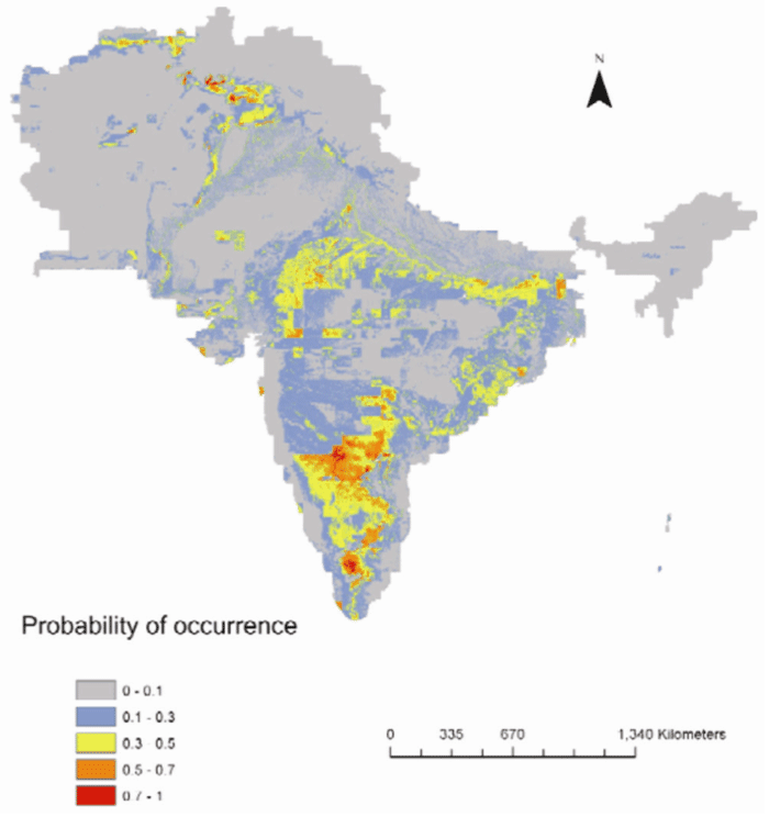 Map showing the predicted distribution model of Ashokan edicts on the basis of geology, population, climate and topography.