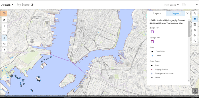 USGS – NHD (National Hydrography Datset), through ESRI's ArcGIS map viewer